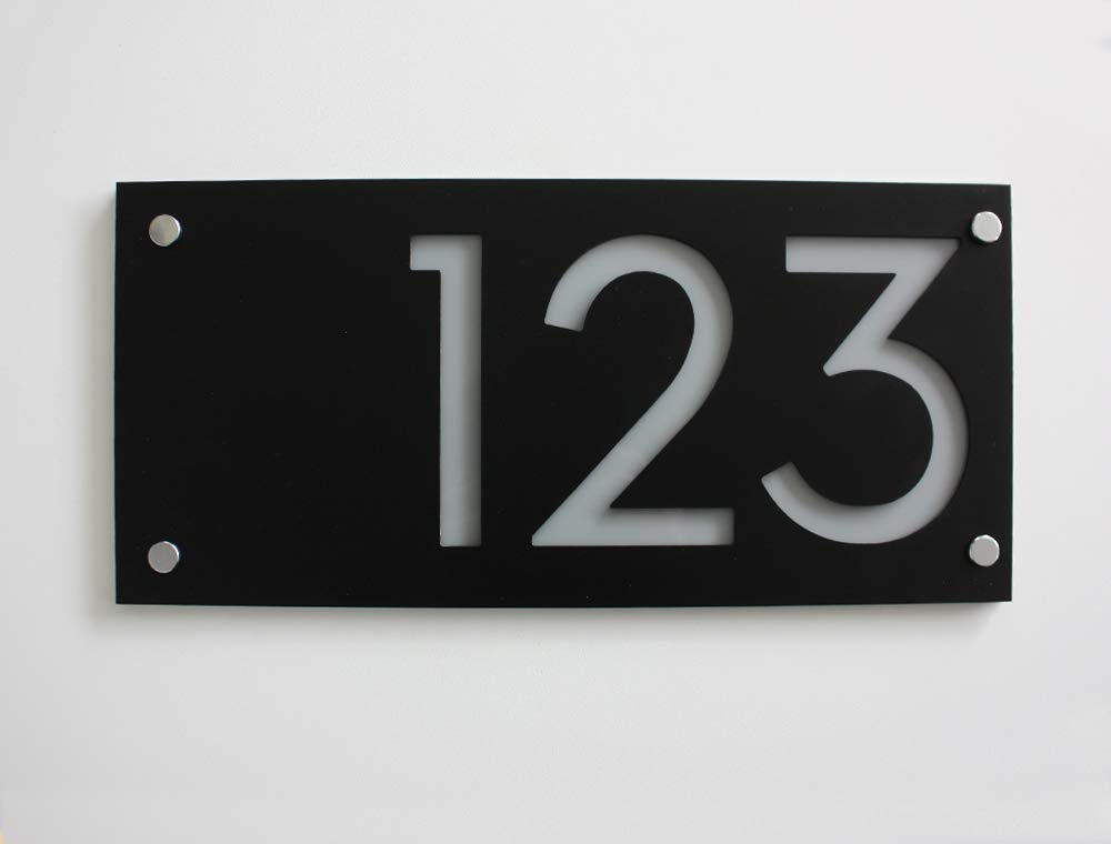 Modern House Numbers Rectangle Black with - Dallas Mall Grey Outlet sale feature Acrylic Contem