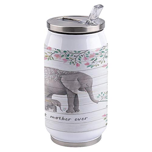 Vacuum Insulated Water Bottle Mothers Day, Best Mother Ever,Elephant Mother Vintage Wood Texture Double Wall Stainless Steel Commuter Water Bottle Leak Proof Wide Mouth Durable Kids Cup, 10oz
