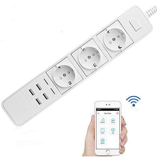 XXF WiFi Power, Sub-Control De Protector De Sobretensión WiFi Inteligente 3AC con Enchufe De 4USB, Toma Multifunción para Google Home De Amazon Echo Alexa