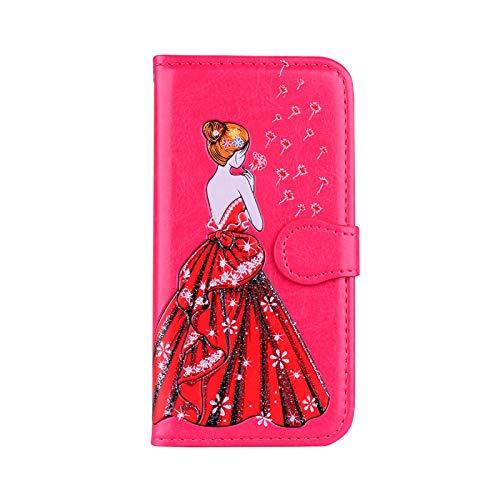 Carcasa para Samsung Galaxy A8, estilo retro con tarjetero para Samsung Galaxy A8 S8 S9 Plus S7 S6 Edge S5 A3 A5 J3 J5 J7 2017 2016 Simple color rosa P-for S7