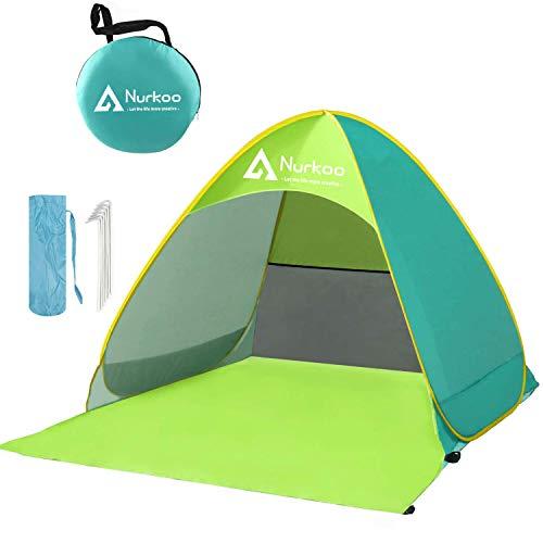 Nurkoo Strandtent Draagbare strandtent en UV 50 zonnebescherming voor 2-4 personen pop-up strandtent extra lichte tent (200 * 165 * 130 cm)