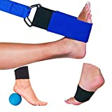 Dr. Moe's Solutions – Designed by A Physical Therapist - Foot and Leg Stretcher for Plantar Fasciitis - Massage Ball – Stretching Strap – Arch Support – Yoga Strap (Blue)