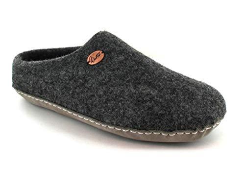 WoolFit Footprint - Unisex Barfuß-Hausschuhe aus 100% Wolle - handgefilzte Pantoffeln mit Flexibler Ledersohle & selbstformendem Fußbett, Graphit, Größe 42