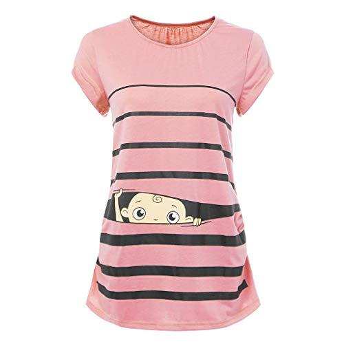 OHQ Camiseta De Lactancia Premamá Mujeres Manga Corta A Rayas con Estampado De Bebé Divertido Lindo Maternidad Tops Embarazadas Ropa De EnfermeríA