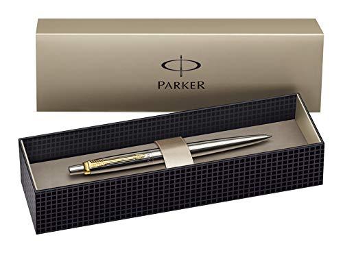 Parker - Confezione regalo con penna a sfera a punta media e ricarica, acciaio INOX, finiture dorate, colore: blu