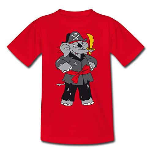 Benjamin Blümchen Als Pirat Kinder T-Shirt, 98/104 (3-4 Jahre), Rot