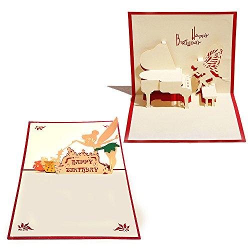 3D Geburtstags-Pop-Up-Karten und Umschläge – Set von 2 lustigen einzigartigen Pop-Up-Grußkarten Geschenk für Geburtstag Spruch Happy Birthday. Tinkerbell Piano Box Geschenke