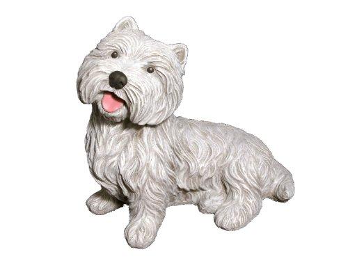 Tiefes Kunsthandwerk Steinfigur Hund Antik-Weiss, Westi Figur Deko Garten Stein Frostsicher