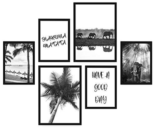 POSTORO Stilvolles Wohnzimmer Poster Set, 6 harmonisch aufeinander abgestimmte Bilder ohne Rahmen, 2 x DIN A3 + 4 x DIN A4 (Hakuna Matata)
