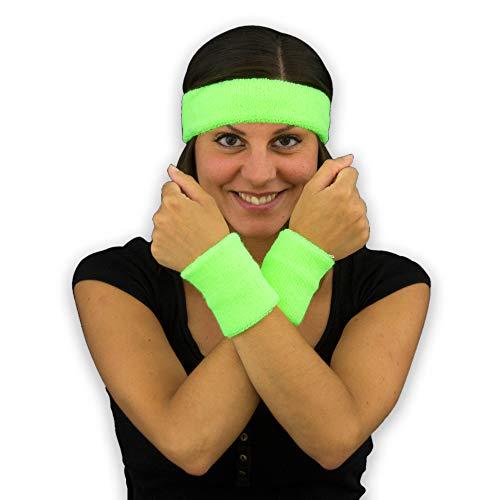 Eventlights NEON 80er Schweißbänder Set grün - 4 Sets - 12 Teile - Frottee Armbänder & Stirnbänder - Schwarzlicht UV-aktiv