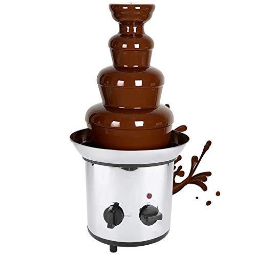 GuoEY Fuentes de Chocolate, máquina para fundir Chocolate eléctrica de Torre de Acero Inoxidable, Fuente para Hacer Fondue, Ideal para Bodas y Fiestas Infantiles