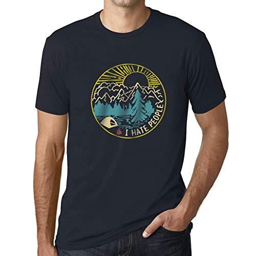 Ultrabasic - Uomo Grafico Design Maglietta Io Odio la Gente Stampa a Colori Marine