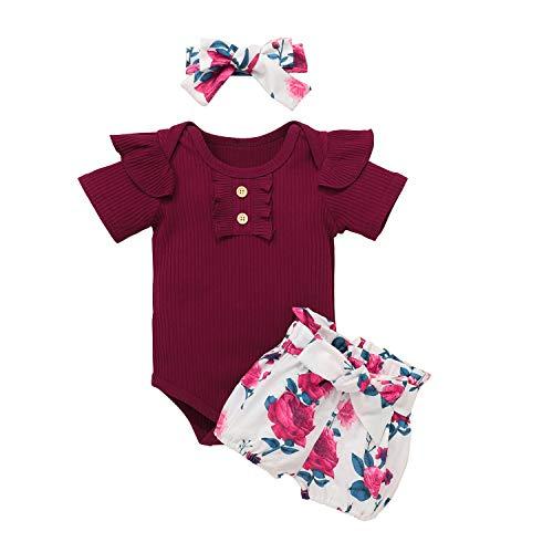 Bonfor 3 Piezas Ropa Bebe Niña 0-3 Meses Conjunto Verano de Floral Mono + Pantalón Corto + Banda de Pelo para Recien Nacido Niño 0-24 Meses Algodon Barata