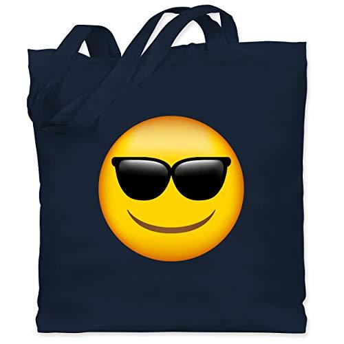 Comic Shirts - Emoticon Sonnenbrille - Unisize - Navy Blau - Karneval - WM101 - Stoffbeutel aus Baumwolle Jutebeutel lange Henkel