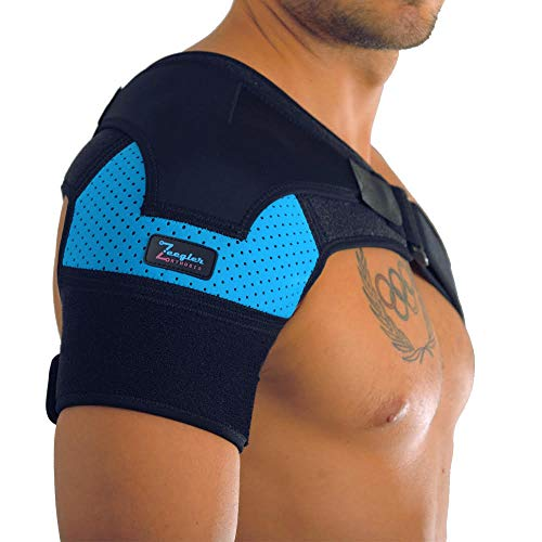 Shoulder Brace - Adjustable Sleeve, with Enhanced Support and Compression Pad & E-Book by Zeegler...
