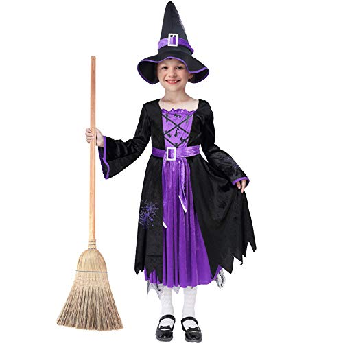 Acekid Halloween Witch Costume Fancy Party Dress Up Outfit for Girls (S(5-7))