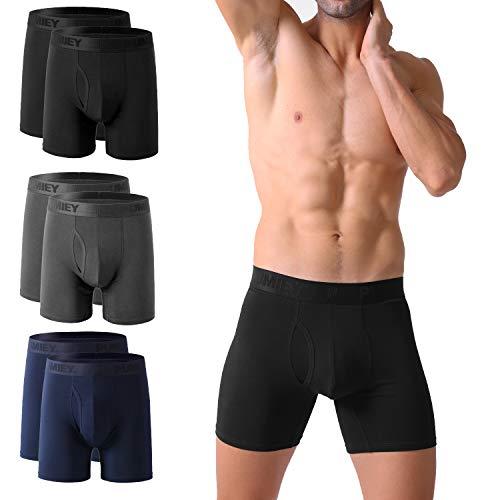 PUMIEY Mens Underwear Boxer Briefs Cotton No Ride Up Fly Front with Pouch Underwear (6pack) Medium,Blcak,Dark grey,Dark blue