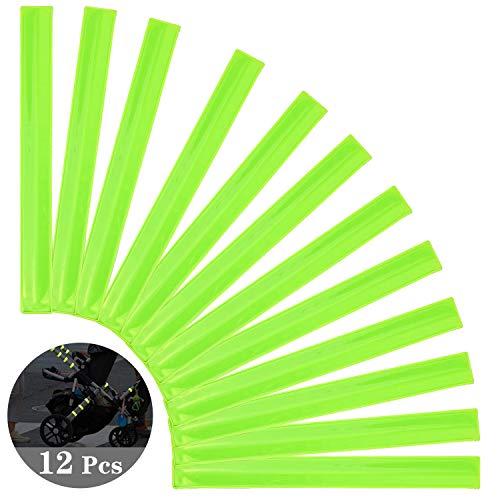 COCOCITY 12 stks Reflecterende Armbanden Zeer Reflecterende Hi-Vis Slap-on Pols/Enkelbanden Lichtgevende Strips voor fietsers joggers Kinderen - 30 x 3 cm