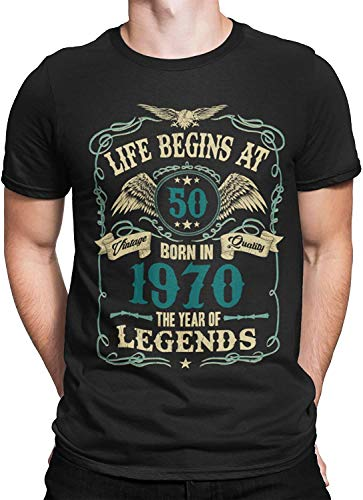 Mens 50th Birthday Gift - Life Begins at 50 Mens T-Shirt - Born in 1970 (XXX-Large, Black)