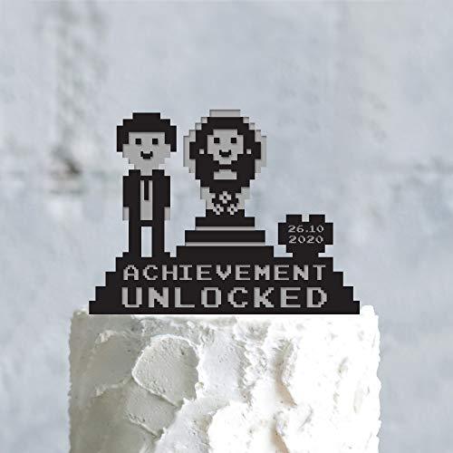 Achievement unlocked bits video gamer wedding retro bit gaming cake Topper bit video game wedding love the s couple funny Topper Custom Cake Topper for Party