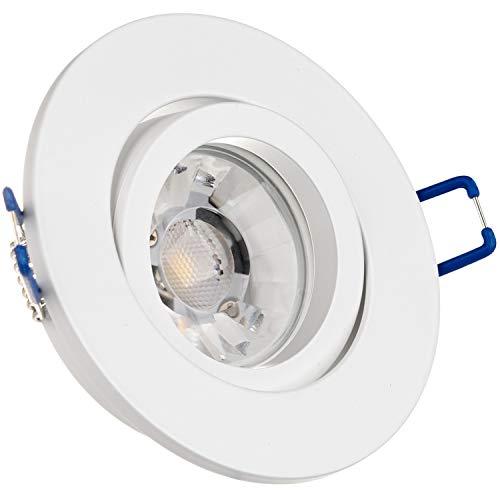 LEDANDO Einbaustrahler Set für Spanndecken Weiß matt 7W DIMMBAR COB LED GU10 Deckenstrahler - Spots - Deckenspots - Deckspot