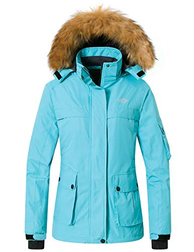 Womens Light Blue Insulated Windproof Ski Snow Jacket with Detachable Hood