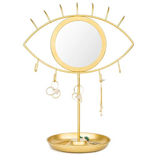 CoolXuan Hexagon Hanging Mirror for Wall Gold (Eye(Gold), Small)