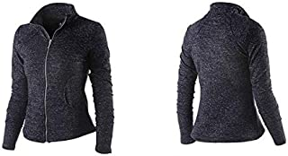 BEESCLOVER Women's Sports Jacket Stand Collar Ruched Outerwear Sportswear Ladies Shirt Running Yoga Fitness Sweater Upperwear Black S