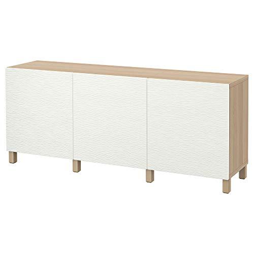 BESTÅ förvaringskombination med dörrar 180 x 40 x 74 cm vitfärgad ekeffekt/Laxviken vit