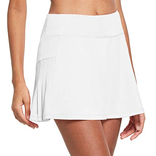 BALEAF Faldas de tenis plisadas de cintura alta para mujer, con bolsillos para pelotas, Blanco, Medium