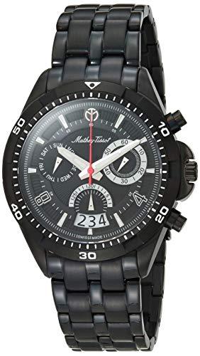 MATTHEY-TISSOT Bolton Correa de acero inoxidable de cuarzo, negro, 22 reloj casual (Modelo: H5002CHN)