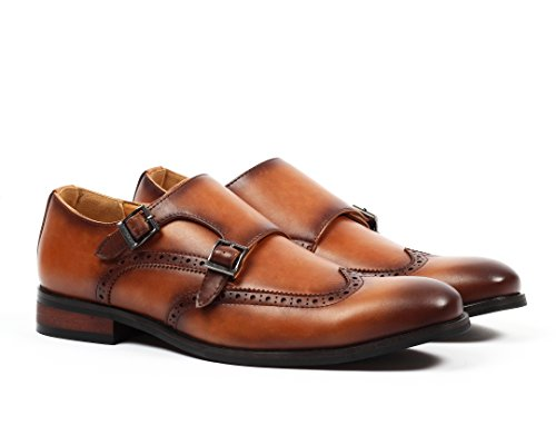 Santino Luciano Nico Men's Wingtip Monk Strap Dress Shoes Cognac