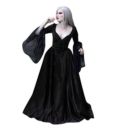 SUMTTER Ostern Halloween Schwarze Voller Länge Kleid Damen Gothic Karnevale Kostüm Cosplay Hexe Vampir Kostüm Fasching Weihnachten
