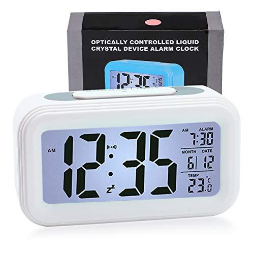 WEIXINHAI Battery Powered Digitaler Wecker 12 / 24H - Kalender Raumtemperatur Smart Night Light Snooze-Funktion, Sleep-Timer Geeignet für Schwere Schläfer, Altere Menschen und Junge Menschen