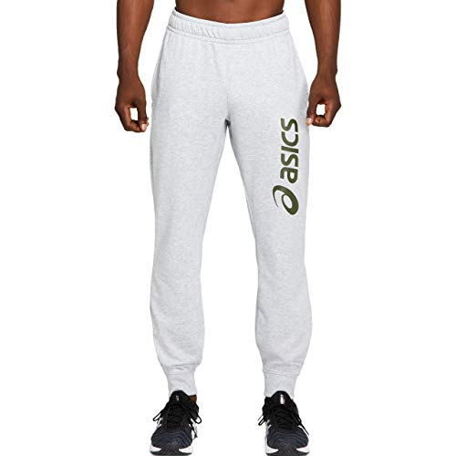 ASICS Big Logo Sweat, Un Pantalon pour des Hommes, Mid Grey Heather/Smog Green, XL