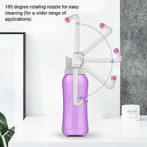 Hivexagon Tragbares Persönliches Reise Bidet 2 Ersetzbare Reinigungsdüsen, Bidet für Persönliche Hygiene Regulierbare Langhalsige Duschdüsen Sprayer Flasche für Außentoilette Kinder 500ml