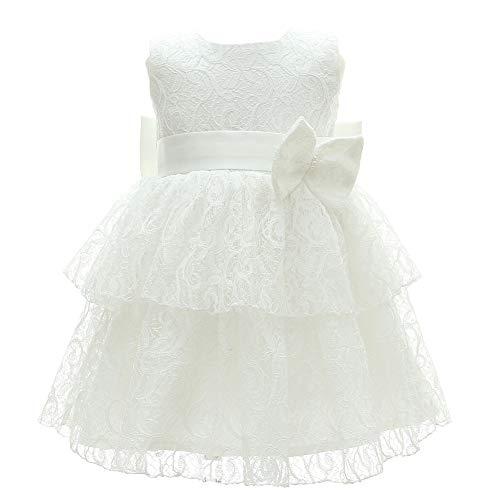 Monimo Baby Mädchen Blütenblatt Prinzessin Kleid Taufkleid Festlich Kleid Hochzeit Partykleid Festzug Babybekleidung