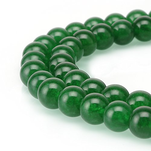 BRCbeads Jade Gemstone Loose Beads Natural Round 8mm Crystal Energy Stone Healing Power for Jewelry Making- Emerald Green