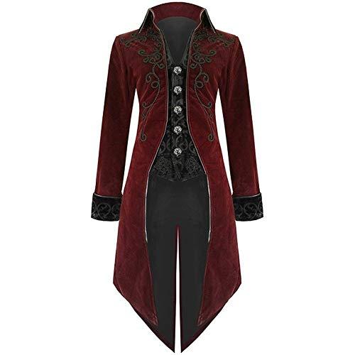 SHOBDW Moda para Hombre Tallas Grandes de Manga Larga Esmoquin Goth Steampunk Uniforme del Partido del Partido Chaquetas Cardigans Outwear Invierno Abrigos Largos(Rojo,XX-Large)