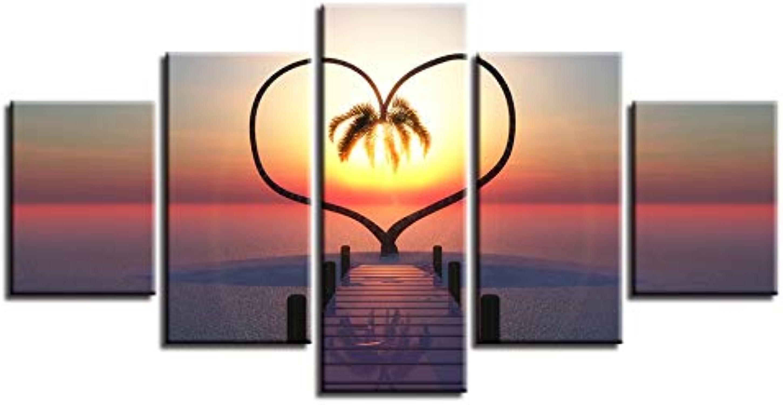 con 60% de descuento YUGUO 5 Lienzos Imágenes En HD Decoración Decoración Lienzo Lienzo Lienzo De Parojo Lienzos 5 Piezas Puente árbol En Forma De Corazón Paisaje del Sol Posters Arte Modular  varios tamaños