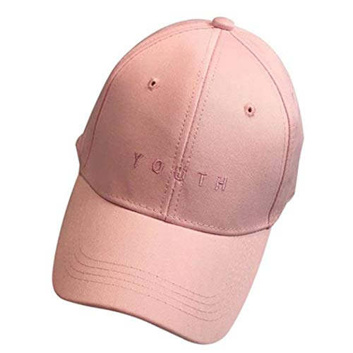 Unisex Gorras De Béisbol De Los Clásico Bordado Muchachos Niñas Jóvenes Hip Hop Algodón Sombrero Plano Sombreros Estilo Antiguo Básico Accesorios Ropa (Color : Rosa, One Size : One Size)