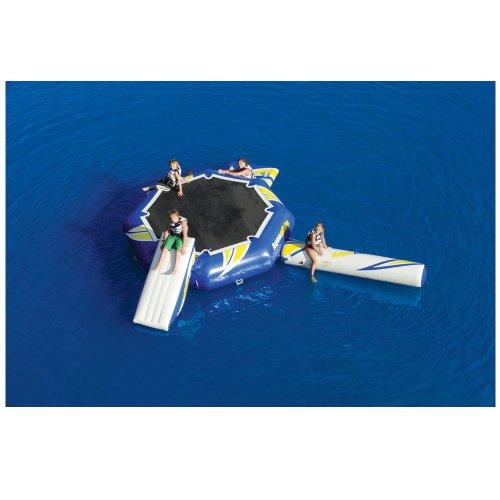 Aquaglide Aquapark Rebound 12 Set w. Slide, I-Log - Aquaglide Wasserpark mit Wassertrampolin, Wasserrutsche & Ilog (Balancebalken)