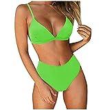 Mujers Traje de Baño Color Sólido Sexy Conjunto de Bikinis Halter Dos Piezas, Bañador de Bikini Tops Profundu Cuello en V y Braguitas Cintura Alta,Ropa de Playa de Moda y Classic