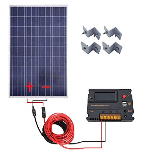 Price comparison product image ECOWORTHY 100 Watt 12V Solar Panels Kit + 20A Charge Controller for Off-Grid 12 Volt Battery System