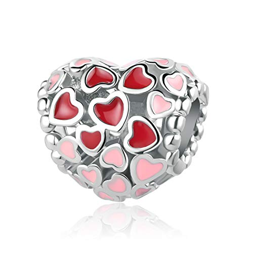SBI Jewelry Red Pink Hearts Charm for Bracelet Love Heart Bead Charm Gift for Women Girls Mum Birthday