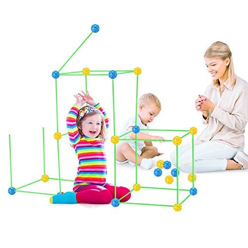 Kit de construcción de fuerte luminoso, elementos modernos, fuerte de construcción flexible para niños, túneles, tienda de campaña, torre de cohetes para interiores y exteriores, 87 piezas / juego
