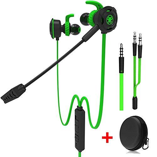 Wired Gaming Earphone con microfono regolabile per PS4, Xbox, computer portatile, cellulare, DLAND E-sport Auricolari con borse portatili, Design morbido(verde)