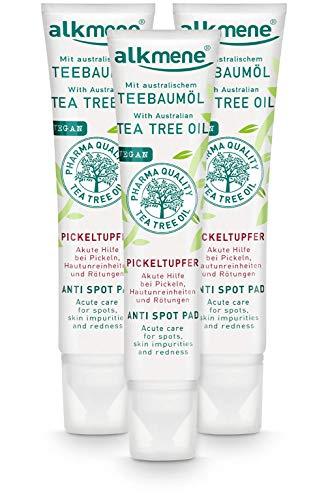 alkmene Teebaumöl SOS Anti Pickeltupfer - Akute Hilfe bei Pickel, Hautunreinheiten & Rötungen - vegane Gesichtspflege ohne Silikone, Parabene & Mineralöl im 3er Vorteilspack (3x 15 ml)