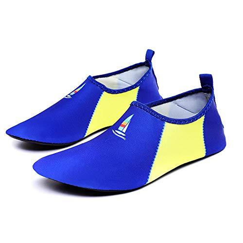 Zapatos de Snorkel para Nadar,Suela de Goma Zapatos de Agua,Zapatos de natación Transpirables de Gran tamaño para Parejas Zapatos de Deportes acuáticos-Sapphire_46 / 47