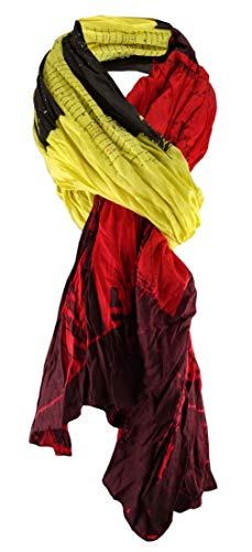 ohne Markenname Schal gecrinkelt in gelb oliv rot bordeaux gemustert - Schal Gr. 190 x 100 cm